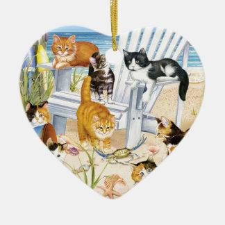 Beach Kittens Heart Ornament