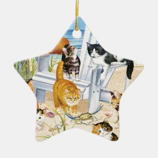 Beach Kittens Star Ornament