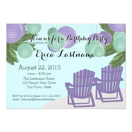 Beach Lanterns and Adirondack Chairs Personalized Invite