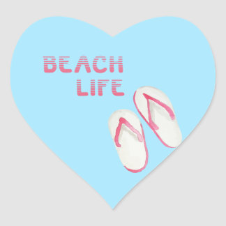 Beach Life Flip Flops Heart Sticker