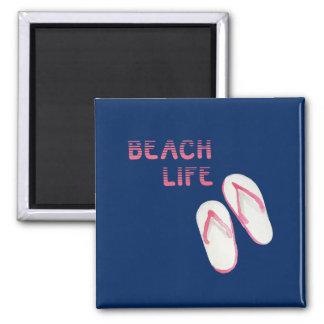 Beach Life Flip Flops Square Magnet