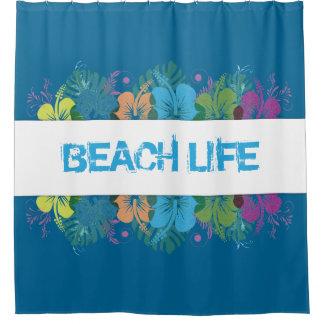 Beach Life Hibiscus Pattern Shower Curtain
