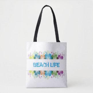 Beach Life Hibiscus Pattern Tote Bag