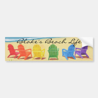 Beach Life Personalized Bumper Sticker