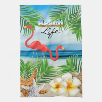Beach Life with Pink Flamingos Tea Towel