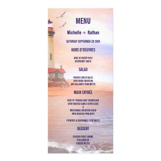 Beach Lighthouse Wedding Menu Card Custom Rack Card