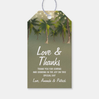 Beach Lights Palm Tree Tropical Wedding Thank You Gift Tags