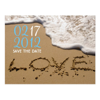 "Beach ""Love in the Sand"" Save the Date Postcard"