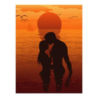 Beach Love Romance Silhouette Couple In The Sea Art Photo