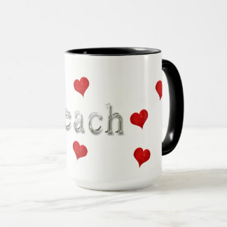 Beach Love Text Typography Heart Cute Summer Mug
