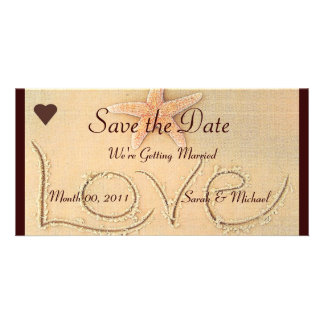 Beach Love Wedding Announcement Card