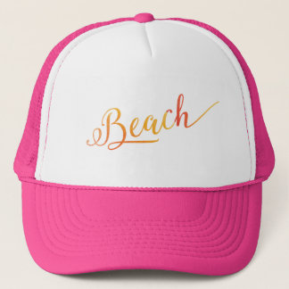 Beach Lovely Stylized Peach Color Trucker Hat