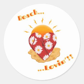 Beach Lovin' w/ Text Classic Round Sticker