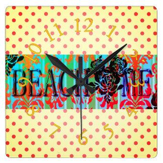 Beach-Me*-Bohemian-Dots(c)Multi-Choices Square Wall Clock