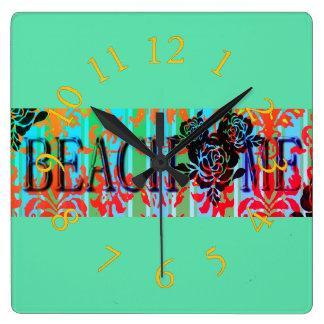 Beach-Me*-Bohemian-Retro-Green(c)Multi-Choices Square Wall Clock