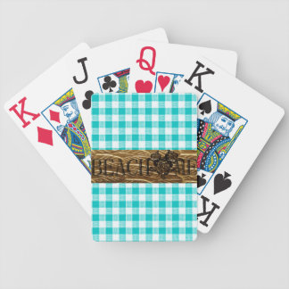BEACH ME-Gold-Turquoise-Gingham_Fun-Beach Bicycle Playing Cards