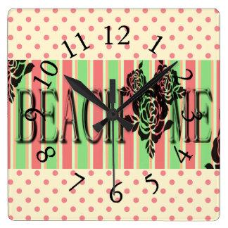 Beach-Me*-Watermelon-Stripes(c)Multi-Choices Square Wall Clock