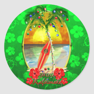 Beach Mele Kalikimaka Classic Round Sticker