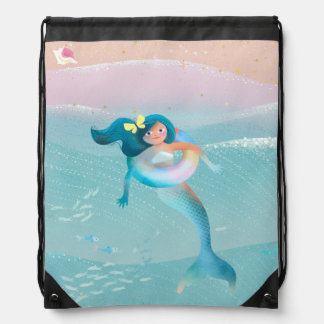 Beach Mermaids illustration Drawstring Bag