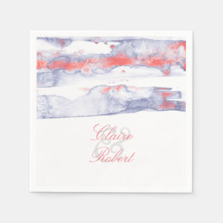 Beach Modern Dusty Watercolors Starfish Wedding Paper Napkin