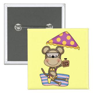 Beach Monkey Sun Tan Tshirts and Gifts Button