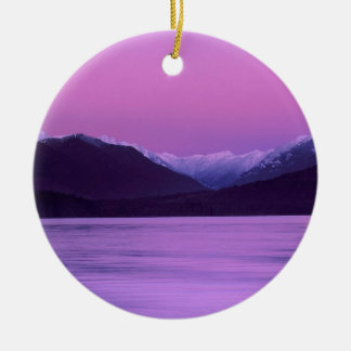 Beach Moonset Hood Canal Mountains Seabeck Christmas Tree Ornament