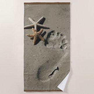 Beach Nature Starfish Footprint In The Sand Beach Towel