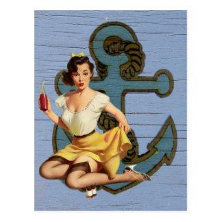 beach nautical anchor vintage pin up girl postcard