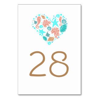 Beach Nautical Coastal Wedding Table Number