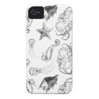 Beach Nautical Ocean Theme Black and White Ink iPhone 4 Case-Mate Case