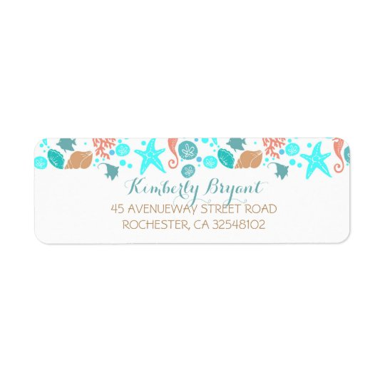 Beach Nautical Turquoise Teal and White Wedding Return Address Label
