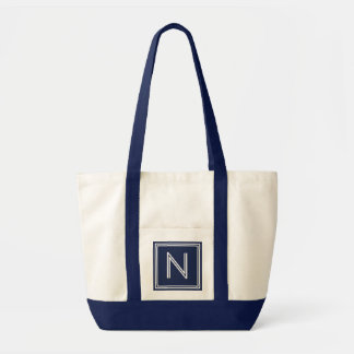 BEACH NAVY BLUE-ANY LETTER MONOGRAM TOTE BAG