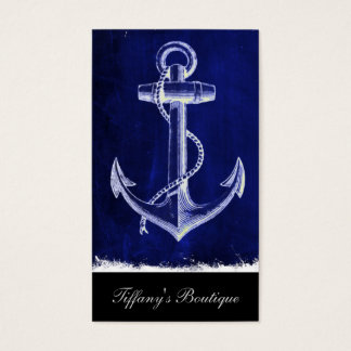 beach navy blue coastal chic nautical  anchor business card
