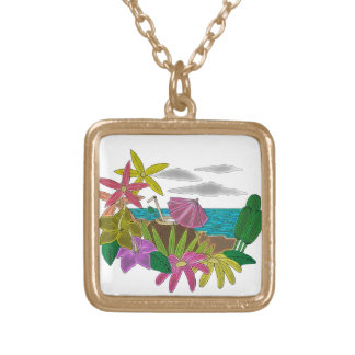 Beach neon gold plated necklace