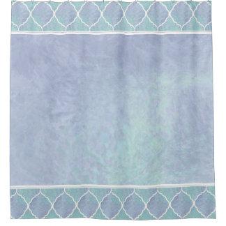 Beach Ocean Arabesque Moroccan Tile Border Blue Shower Curtain