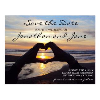 Beach Ocean Love Heart Wedding Save the Date Postcard