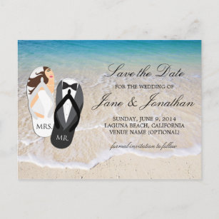 Mr and mrs invitations announcements zazzle au beach ocean mr and mrs wedding save the date announcement postcard stopboris Images