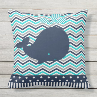 Beach Ocean Nautical Blue Whale Chevron Outdoor Cushion