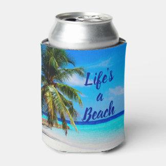 Beach ocean Palm tree Life is a beach Can Cooler