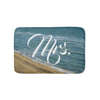 Beach Ocean Sand Blue Tropical His/Hers Mr/Mrs Bath Mat