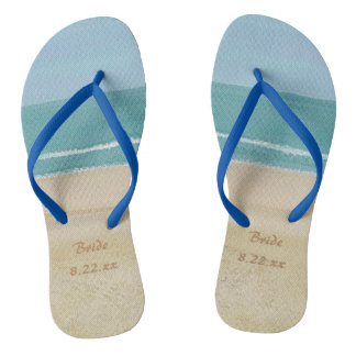 Beach Ocean Sand Bride Wedding Flip Flops
