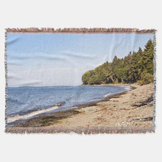 Beach Ocean Shoreline Throw Blanket