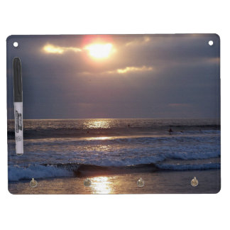 Beach Ocean Sunset Waves Dry Erase Board