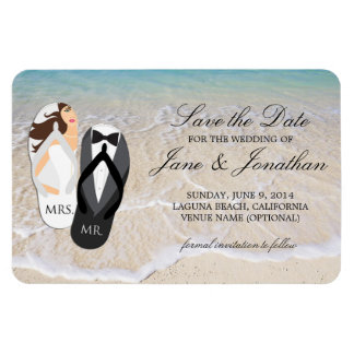 Beach Ocean Tropical Wedding Deluxe Save the Date Rectangular Photo Magnet