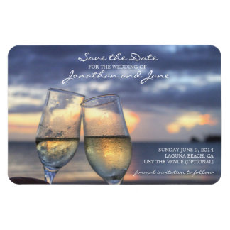Beach Ocean Wedding Champagne Glass Save the Date Rectangular Photo Magnet