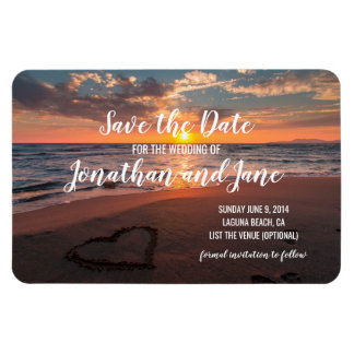 Beach Ocean Wedding Heart Deluxe Save the Date Magnet