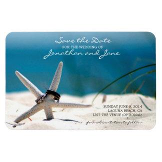 Beach Ocean Wedding Rings Starfish Save the Date Magnet