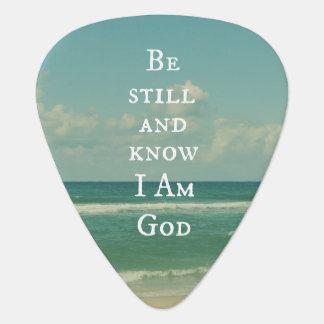 Beach Ocean with Be Still Bible Verse Guitar Pick