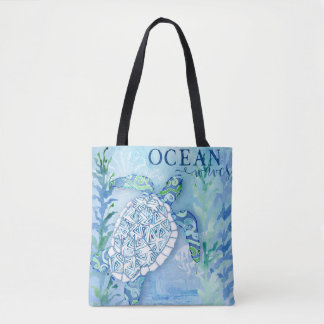 Beach Ocean Work Out Sea Turtle Watercolor Art Tote Bag