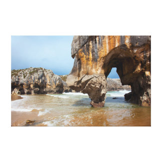 Beach of Caves of the Sea Stretched Canvas Print